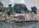 Paul Cornoyer, A dock with gray houses, Gloucester Harbor