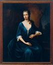 Anglo-American School (18), Portrait of a lady wearing a blue dress, in a landscape