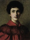 Thomas Bowman Garvie, Portrait of Isabella in a red dress