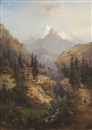 Heiner Baumgärtner, Alpenlandschaft mit Figurenstaffage (+ another; pair)