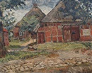 Arnold Fiedler, View of a North German farmyard