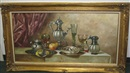 Gyula Andreas Bubárnik, Still life with silver and glass tableware