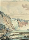 William Armstrong, A waterfall, with the artist sketching in the foreground