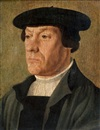 Attributed To Jan van Scorel, Portrait d'homme au béret
