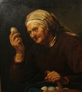 Willem Sted, An elderly lady holding a basket of eggs (after Hendrick Bloemaert)