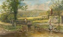 Fred Shaw, Figural river cottage scene (+ 2 others, prints, smllr; 3 works)