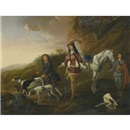 François Verwilt, A gentleman resting during the hunt, his two page boys in attendance
