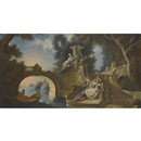 Circle Of Jacques de Lajoue, An outdoor scene with elegant figures reclining on riverside steps beside a bridge