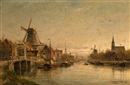 Cornelis Christiaan Dommelshuizen, Evening at Maashuis, Holland