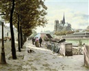 Abel Boulineau, A book stall on the Seine, Notre Dame beyond