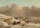Frederik Michael Ernst Fabritius de Tengnagel, Winter landscape with a man driving wood on a carriage