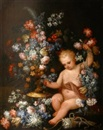 Attributed To Mario Nuzzi, Putti aux fleurs