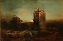 J. Burger, A castle in moonlight