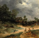 Lodewijk de Vadder, A dune landscape with figures and pigs on a track near a cottage
