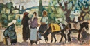 Arieh Allweil, Women and donkeys in a Galilee landscape