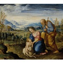 Attributed To Jan van Scorel, The Holy Family (+ Rafaelle Santio di Urbino, verso)