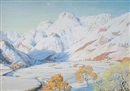 William Heaton Cooper, Langdale Pikes under fresh snow