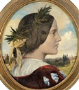 Lord Frederick Leighton, Portrait of Mrs Sutherland Orr, sister of Lord Leighton, in profile, wearing classical dress