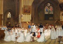 Théophile Emmanuel Duverger, Figures in a cathedral interior being confirmed