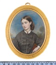Reginald Easton, Mary Tower wearing brown dress, white blouse, two pendants on a choker at her neck, her brown hair parted and curled in a large knot at the back of her neck