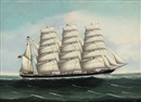 "Kwong Sang, The British four-masted barque ""Eulomene"" at sea under full sail"