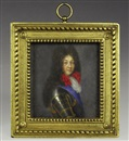 Circle Of Pierre Mignard, Portrait du Roi Louis XIV en cuirasse et grand cordon bleu