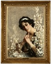 Manner Of Lord Frederick Leighton, Edwardian woman sitting in an armchair admiring a floral display