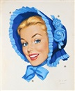 Len Goldberg, Smiling blonde woman in blue bonnet (illus. for Blue Bonnet butter)