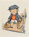 Corinne Pauli, Boy carrying suitcases down gangplank (illus. for Campbell's Soup)