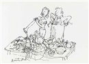 Quentin Blake, Food preparation (preliminary drawing for The David Mellor kitchen guide)