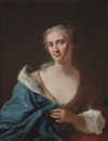 Gaspare Traversi, Portrait of a lady, in a gold dress with a blue fur-lined wrap