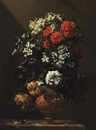 Jean-Michel Picart, Roses and other spring flowers in a vase on a stone ledge
