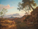 Johann Joachim Faber, An Italianate landscape with travellers and their herd, with the Monte Circeo and the sea beyond