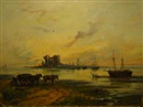 John Ernest Aitken, Beach scene at dusk with boats, figures and horses, ruin in the distance