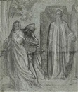 Lord Frederick Leighton, Jezabel and Ahab, having caused Naboth to be put to death, go down to take possession of his vineyard; they are met at the entrance by Elijah the Tishbite, Hast thou killed, and also taken possession? (study)