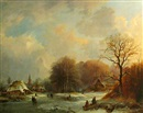 Edward F. D. Pritchard, A winter landscape with figures skating on a frozen river