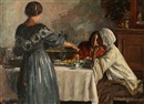 Herman Albert Gude Vedel, Italian women around a coffee table