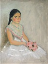 Lauro López, Young girl with pink roses