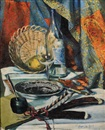 Quentin Bell, Still life with quills, bottle, glass, basket, cutlery and plate