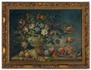 Italian School (20), Flowers in a vase with fruits on a ledge