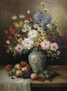 James Lisa, Still life of flowers in a vase and fruit on a table