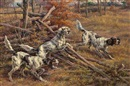Edmund Henry Osthaus, Three English Setters clearing a fence