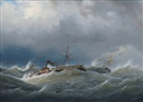 Johann Baptist Weiss, Paddle steamer and two master in choppy sea