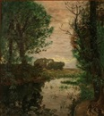 Thorvald Simeon Niss, Evening landscape with a serpentine stream (Silstrup, Denmark?)