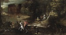 Follower Of Denis van Alsloot, A wooded river landscape with a hunting party
