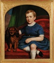 Joseph Greenleaf Cole, Portrait of a boy in blue seated beside his dog on a red upholstered sofa