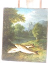 Attributed To George Hilditch, Two fish on a riverbank, a wooded landscape with castle beyond