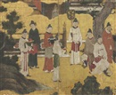 Japanese School-Kano (16), Chinese courtiers from Emperor Xuanzong playing the flute (Genso heitekisu) (in 2 parts)