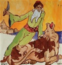 Zeev Raban, Then came the butcher and slaughtered the ox... (Pesach Hagada)(illustration for the Hagada)