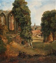 George Hilditch, The oriel window, and Kenilworth Church from the upper end of the great hall